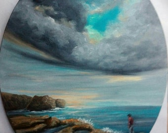 """Oil Painting Storm Clouds Seascape 8"""" x 10"""" Oval Canvas. READY to SHIP"""