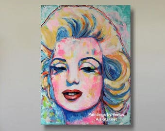 Hand Signed MARILYN MONROE Original Painting Oil on Canvas Portrait Impressionism Art, Large Painting Impressionist Movies Home Decor