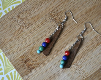 Beads and leather earrings