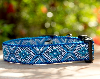 Dog Collar / Blue Mexican Dog Collar / Tribal / Geometric