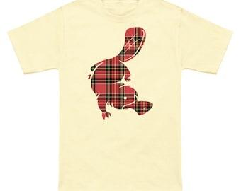 Plaid Platypus ringspun mens Graphic Tshirt