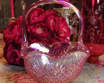 Vintage Carnival Glass , Pink Iridescent Basket