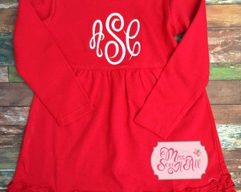 Girls Monogrammed Red Dress, Custom Christmas Dress, Red and White Christmas Dress