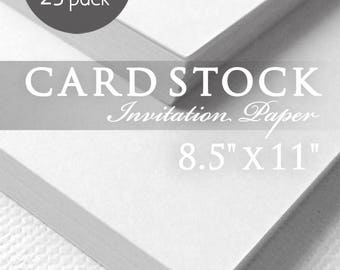 White 8.5 x 11 Cardstock Paper, 80lb Heavy Card Stock Paper, 25 Sheets, White Card Stock Paper, Printable Invitations, Programs, Tags, Menus