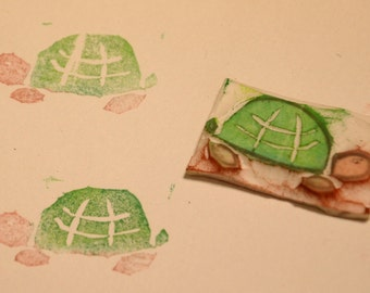 Turtle- Handmade Unmounted Rubber stamp