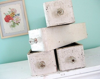 STOREWIDE SALE.  Junk Drawer... Antique Chippy White Sewing Machine Drawers with Glass Knobs