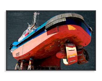 Original painting, tug, fairing, Port of Lorient, Digital Art, altered photography, fine art, print, wall decor