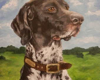 "PET PORTRAIT- Custom Painting Original Dog Art 16""x20"" Acrylics or Pastel on Canvas"
