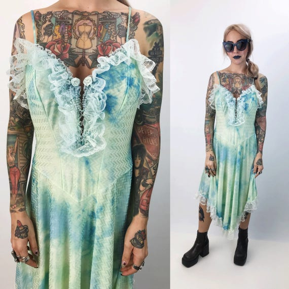 Vintage Blue Green Tie Dye Dress Medium - 80's Ruffle Lace Trim Renaissance Lingerie Slip Dress - Hand Dyed Lightweight One Of a Kind Slip