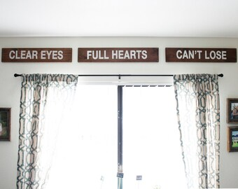 Clear Eyes Full Hearts Can't Lose 3 Piece Wood Sign. Friday Night Lights. Hand Painted. Coach Taylor. Tim Riggins. Tami Taylor. Home Decor.