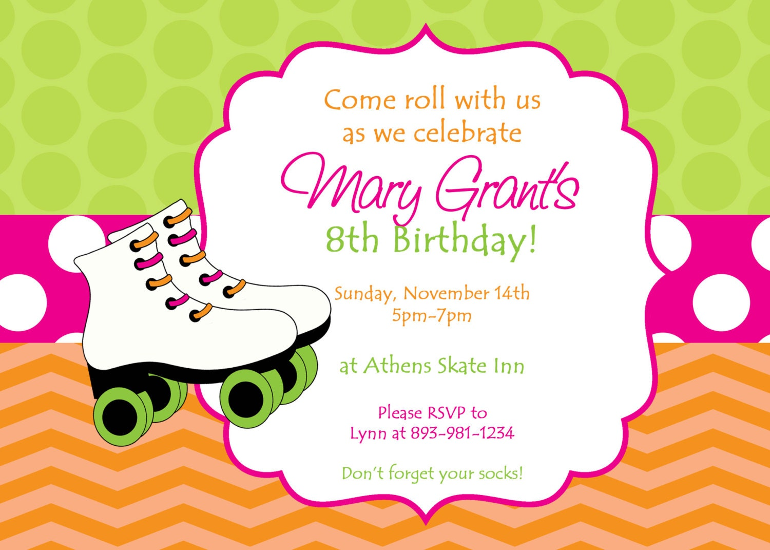 Skating Party Invitation. Colorful Customized Skate Party