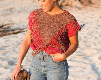Vintage 70s RARE Red and Sienna Hand Woven Leather FRINGE Top Chevron Native Blouse Festival Bohemian Top Boho Chic Gypsy S M