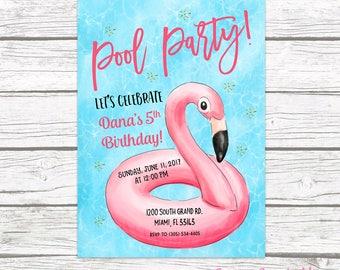 Flamingo Pool Party Invitation, Flamingo Birthday Invitation, Flamingle Invitation, Pool Float Birthday Invitation, Pool Printable Invite