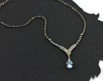 Something Blue Rhinestone Vintage Necklace