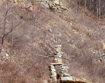 Rock Sculpture Photography, Found Object Art, Natural People Stone, Woodland Mountain Country Kitsch