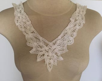Off White BATTENBURG LACE Applique|Neckline Applique for Bodice Neck Collar Embellishment Crochet DIY Craft Sewing Supplies