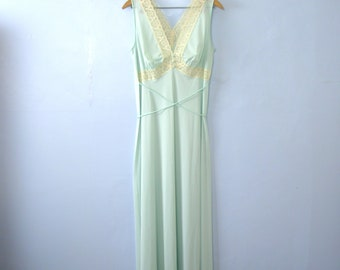 Vintage 70's Gaymode light blue silky lingerie slip dress with lace, size medium / small
