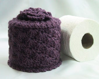 Toilet Paper Cozy w- Flower on Top - TP Cover - Cover Your Spare - Hand Crocheted in Purple Acrylic Yarn - Bed-Breakfast Decor