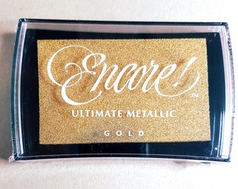 Gold Ink Pad - Gold Encore Ultimate Metallic Pigment Ink Pad Large - Ink for stamp - Inkpad for Rubber Stamp - Gold Ink Pad - Metallic Ink