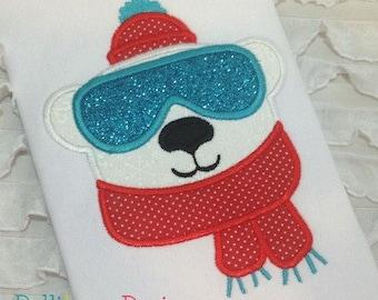 bear applique - polar bear applique - winter applique - applique design - embroidery design -
