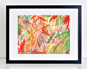 "Abstract Watercolor Print titled ""In the Zen Garden"", Abstract Art, Garden Print, Zen Decor"