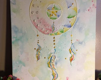 Catch Your Dreams, Original Mixed Media Painting