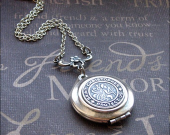 Silver Saint Christopher  Locket Necklace - Enchanted Traveler  - Jewelry by TheEnchantedLocket - LOVELY Anniversary Wedding Birthday Gift