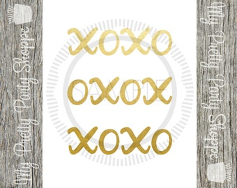 8x10 Printable Gold Foil XOXO Print / Sign / Art *INSTANT DOWNLOAD*