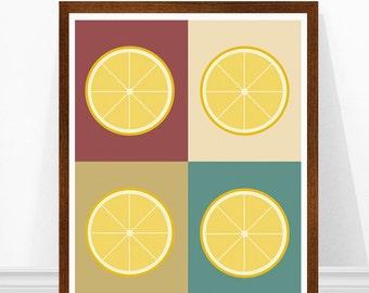 Lemon Art Print - Kitchen Print Poster - Mid Century Modern - Retro Kitchen Art - Home Decor - Scandinavian Lemon Print