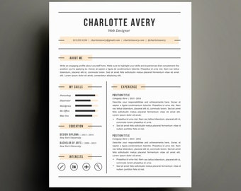 Resume Template and Cover Letter Template for Word   DIY Printable Resume 4 Pack   Digital Instant Download   The Charlotte   Modern Design
