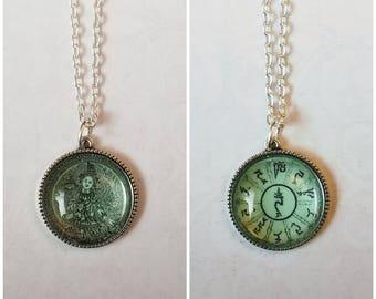 Green tara etsy green tara pendant buddha pendant green tara necklace mantra pendant double mozeypictures Gallery