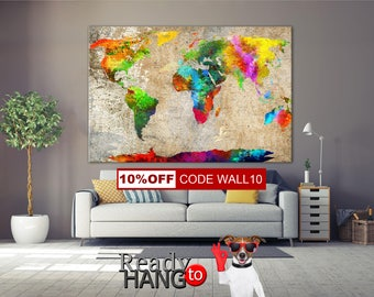 Push pin, World Map, World map canvas, World Map Push Pin, World Map wall art, World Map Print, Map of the World, Canvas World Map, Map
