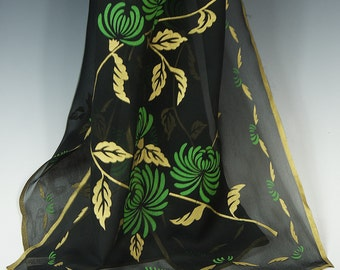 RARE! Japanese scarf handprinted with gold leaves and stems and edges, and green chrysanthemums on sheer black chiffon. 50's