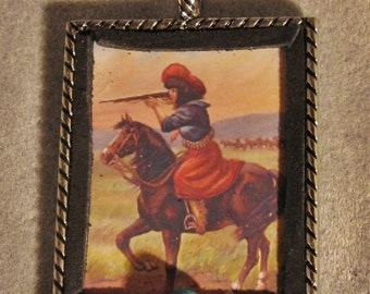 Western Cowgirl Altered Art Christmas Ornament Mounted Shooter Miniature Artwork Turquoise