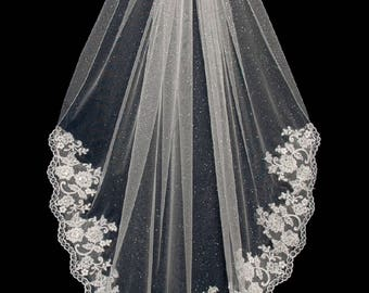 Angel Dust Sparkling Tulle Wedding Veil with Partial Beaded Lace- Free Tulle Samples