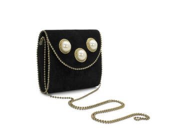 Leatherock by Nina Arjani Vintage 1990s Crossbody Handbag Purse Black Suede Gold-Tone Bead Chain Trim Faux Pearl Cabochons Rock'n'Roll USA