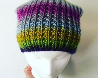 Handknit Soft Slouchy Hat, Bright Multicolor Stripes