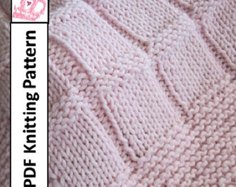 Baby Blanket Knitting Pattern, PDF Knitting Pattern - Baby Blocks Blanket/throw/afghan 28 x 36