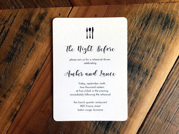 Messer Gabel Löffel Abendessen Einladung moderne Kalligraphie