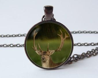 Deer antlers necklace Buckhorn jewellery Deer pendant Deer jewelry Animal necklace Animal pendant Antler necklace Photo pendant Woods Wild