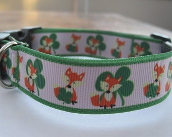 Dog collar lucky fox or matching leash