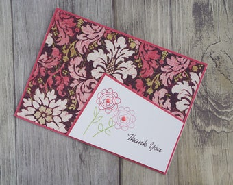 Thank You, Floral, Greeting Card, Handmade Card, Flowers, Gems, Pink, Green, Thanks, Blank Card