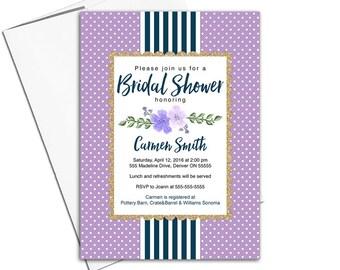 Navy and Purple Bridal Shower Invitation | purple and navy wedding shower invitations | printed bridal shower invite printable - WLP00683