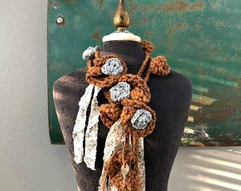 Rural Route Lariat in Chocolate Brown and Dove Gray - One of a Kind