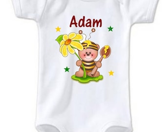 Bodysuit little bee personalized with name