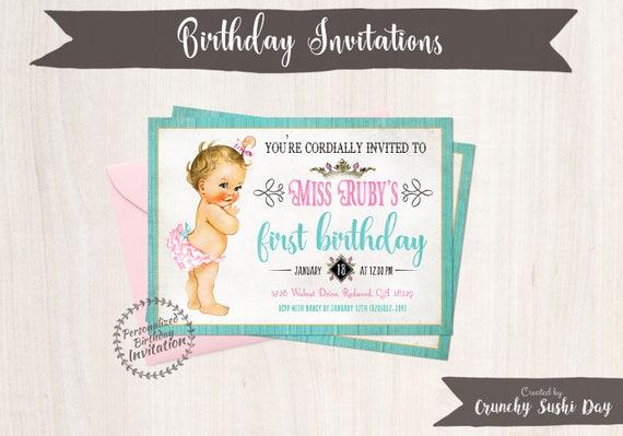 Vintage Baby Girl First Birthday Invitations, Rustic, Girl Birthday Invitations, First Birthday Party, Printable Invitations, Baby Girl 103