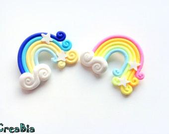 Kawaii Rainbow brooch, cute polymer clay brooch badge pin, Sweater, Fairy kei, sweet lolita, backpack clip, Shawl pin, Scarf cloud brooch,