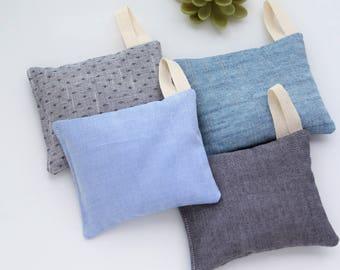 Lavender Sachets For Him, Men's closet freshener, Blue cotton scented lavender bags for his closet Lavender wardrobe moth insect repellent
