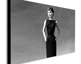 Audrey Hepburn - Black Dress - Canvas Wall Art Print - Various Sizes