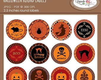 50%OFF Halloween stickers, Halloween round labels, Halloween cupcake toppers, Halloween party decor, Halloween gift tags, Pr 308
